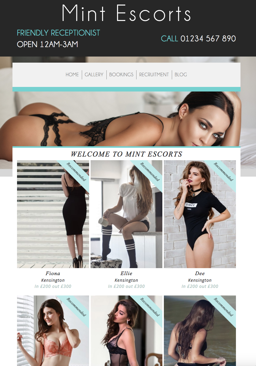 Mint Escorts - Website Template