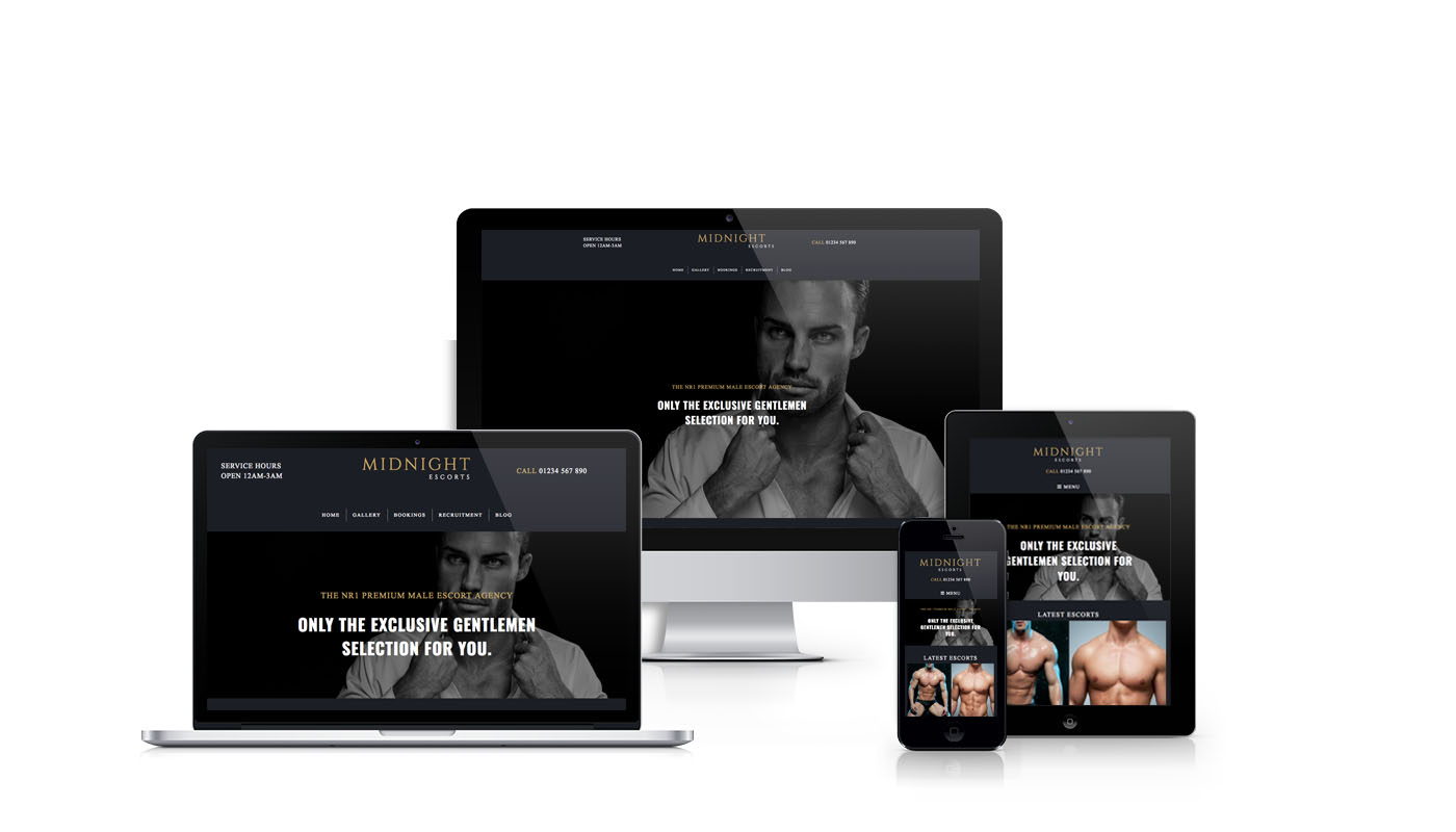 Preview of various mockups from our responsive Midnight template